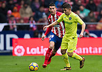Francisco Portillo Soler (R) of Getafe CF fights for the ball with Lucas Hernandez of Atletico de Madrid  during the La Liga 2017-18 match between Atletico de Madrid and Getafe CF at Wanda Metropolitano on January 06 2018 in Madrid, Spain. Photo by Diego Gonzalez / Power Sport Images