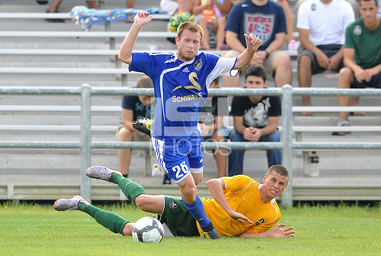 Ely Allen #26, Mark Bloom (stl)...AC St Louis and NSC Minnesota Stars played to a 2-2 tie at Anheuser-Busch Soccer Park, Fenton, Missouri.