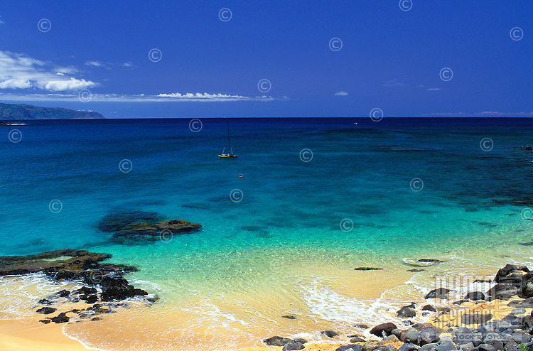 A view of the beautiful water at Waimea Bay on the north shore of Oahu