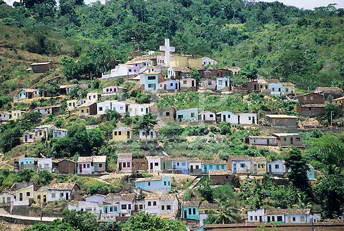 Cachoeira, Bahia, Brazil. A view of the town on the hill with its huge cross.