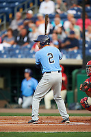 Charlotte Stone Crabs first baseman Grant Kay (2) at bat during a game against the Clearwater Threshers on April 12, 2016 at Bright House Field in Clearwater, Florida.  Charlotte defeated Clearwater 2-1.  (Mike Janes/Four Seam Images)