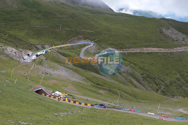 The view down Col du Portet during Stage 17 of the 2021 Tour de France, running 178.4km from Muret to Saint-Lary-Soulan Col du Portet, France. 14th July 2021.  <br /> Picture: Colin Flockton   Cyclefile<br /> <br /> All photos usage must carry mandatory copyright credit (© Cyclefile   Colin Flockton)