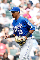 Kansas City Royals catcher Salvador Perez #13 during a game against the Chicago White Sox at U.S. Cellular Field on August 14, 2011 in Chicago, Illinois.  Chicago defeated Kansas City 6-2.  (Mike Janes/Four Seam Images)