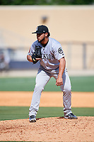 Jackson Generals relief pitcher Gabriel Moya (17) looks in for the sign during a game against the Biloxi Shuckers on April 23, 2017 at MGM Park in Biloxi, Mississippi.  Biloxi defeated Jackson 3-2.  (Mike Janes/Four Seam Images)