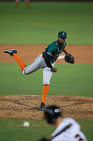 Greensboro Grasshoppers pitcher Yerry De Los Santos (49) during a South Atlantic League game against the Delmarva Shorebirds on August 21, 2019 at Arthur W. Perdue Stadium in Salisbury, Maryland.  Delmarva defeated Greensboro 1-0.  (Mike Janes/Four Seam Images)