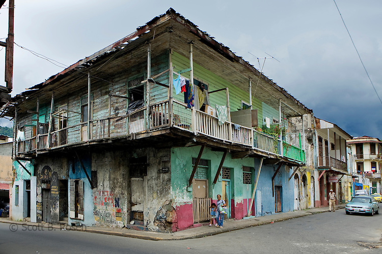 House on a corner in Casco Viejo (Old Quarter), Panama City, Panama