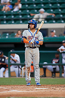 St. Lucie Mets Blake Tiberi (24) during a Florida State League game against the Lakeland Flying Tigers on April 24, 2019 at Publix Field at Joker Marchant Stadium in Lakeland, Florida.  Lakeland defeated St. Lucie 10-4.  (Mike Janes/Four Seam Images)