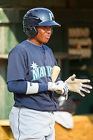 Martin Peguero #6 of the Pulaski Mariners waits for his turn to bat against the Bluefield Blue Jays at Bowen Field on July 1, 2012 in Bluefield, West Virginia.  The Mariners defeated the Blue Jays 4-3.  (Brian Westerholt/Four Seam Images)