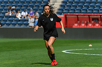 BRIDGEVIEW, IL - JULY 18: Vanessa DiBernardo #10 of the Chicago Red Stars warms up before a game between OL Reign and Chicago Red Stars at SeatGeek Stadium on July 18, 2021 in Bridgeview, Illinois.