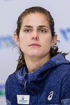 Julia Goerges of Germany talks to media during post match press conference after winning the singles Round Robin match of the WTA Elite Trophy Zhuhai 2017 against Kristina Mladenovic of France at Hengqin Tennis Center on November  03, 2017 in Zhuhai, China.  Photo by Yu Chun Christopher Wong / Power Sport Images