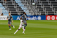 ST PAUL, MN - SEPTEMBER 06: Romain Metanire #19 of Minnesota United FC goes to head the ball during a game between Real Salt Lake and Minnesota United FC at Allianz Field on September 06, 2020 in St Paul, Minnesota.