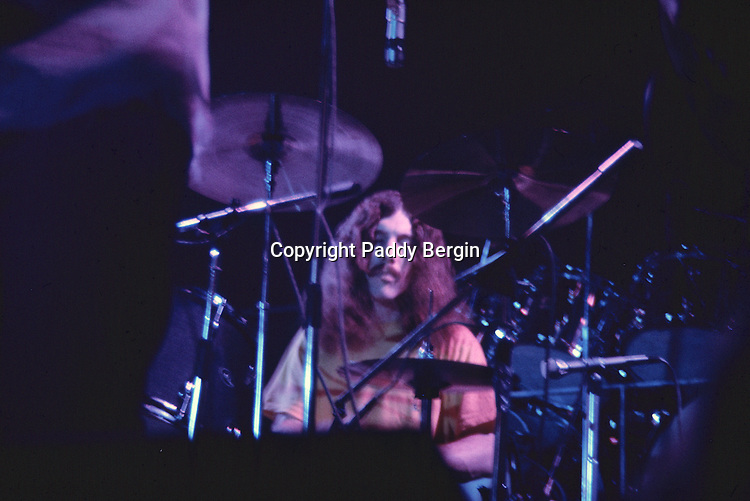 """Drummer of Lynyrd Skynyrd, an American rock band best known for popularising the southern hard-rock genre during the 1970s.<br /> <br /> The band rose to worldwide recognition on the basis of its driving live performances and signature tunes """"Sweet Home Alabama"""" and """"Free Bird"""". At the peak of their success, three members died in an airplane crash in 1977, putting an abrupt end to the band's most popular incarnation.<br /> <br /> Stock Photo by Paddy Bergin"""