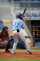 Tampa Bay Rays Grant Witherspoon (33) at bat during a Florida Instructional League game against the Baltimore Orioles on October 1, 2018 at the Charlotte Sports Park in Port Charlotte, Florida.  (Mike Janes/Four Seam Images)