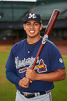 Mississippi Braves third baseman Rio Ruiz (5) poses for a photo before a game against the Mobile BayBears on April 28, 2015 at Hank Aaron Stadium in Mobile, Alabama.  The game was suspended after the top of the second inning with Mobile leading 3-0, the BayBears went on to defeat the Braves 6-1 the following day.  (Mike Janes/Four Seam Images)