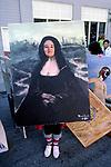 Woman dressed as painting at the Doo Dah Parade in Pasadena, CA