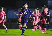 Laura De Neve (8) of Anderlecht pictured celebrating after scoring a goal during a female soccer game between RSC Anderlecht Dames and Sporting Charleroi on the 13 th matchday of the 2020 - 2021 season of Belgian Womens Super League , friday 5 th of February 2021  in Tubize , Belgium . PHOTO SPORTPIX.BE | SPP | DAVID CATRY