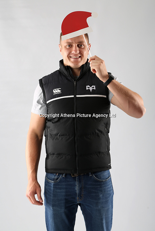 Pictured: James King of the Ospreys<br /> Swansea City FC and Ospreys RFC Christmas photo shoot at the Fairwood Trainining Ground, near Swansea, Wales, UK. 17 October 2017