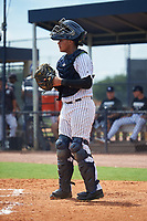 GCL Yankees East catcher Hemmanuel Rosario (7) during a Gulf Coast League game against the GCL Phillies East on July 31, 2019 at Yankees Minor League Complex in Tampa, Florida.  GCL Yankees East defeated the GCL Phillies East 11-0 in the first game of a doubleheader.  (Mike Janes/Four Seam Images)