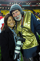NZ Rugby senior media relations advisor Juli Clausen and veteran photojournalist Peter Bush after the Steinlager Series rugby union match between the New Zealand All Blacks and Wales at Westpac Stadium, Wellington, New Zealand on Saturday, 18 June 2016. Photo: Dave Lintott / lintottphoto.co.nz
