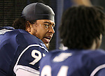 Nevada's Jordan Hanson (92) talks with Lenny Jones (94) during the first half of an NCAA college football game in Reno, Nev., on Saturday, Oct. 11, 2014. Colorado State won 31-24. (AP Photo/Cathleen Allison)