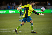 SAN JOSE, CA - MAY 12: Alex Roldan #16 of the Seattle Sounders takes a goal kick during a game between San Jose Earthquakes and Seattle Sounders FC at PayPal Park on May 12, 2021 in San Jose, California.