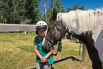 Young girl with horse, model released (MR#96), not property released