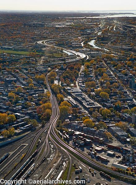 aerial photograph of transportation arteries in the greater Montreal metropolitan area, Quebec, Canada | photographie aérienne des artères de transport dans la grande région métropolitaine de Montréal, Québec, Canada