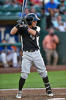 Jose Gomez (3) of the Grand Junction Rockies at bat against the Ogden Raptors in Pioneer League action at Lindquist Field on August 25, 2016 in Ogden, Utah. The Rockies defeated the Raptors 12-3. (Stephen Smith/Four Seam Images)
