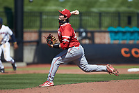 Miami Redhawks relief pitcher Grant Hartwig (25) in action against the Connecticut Huskies at Springs Brooks Stadium on March 5, 2021 in Conway, South Carolina. The Huskies defeated the Redhawks 5-0. (Brian Westerholt/Four Seam Images)