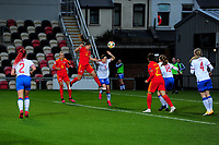 Lilly Woodham of Wales Women's scores her side's fourth goal during the UEFA Women's EURO 2022 Qualifier match between Wales Women and Faroe Islands Women at Rodney Parade in Newport, Wales, UK. Thursday 22 October 2020