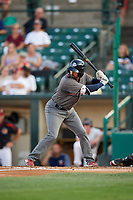 Lehigh Valley IronPigs second baseman Dean Anna (8) at bat during a game against the Rochester Red Wings on September 1, 2018 at Frontier Field in Rochester, New York.  Lehigh Valley defeated Rochester 2-1.  (Mike Janes/Four Seam Images)