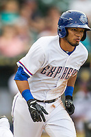 Round Rock Express shortstop Luis Sardinas (15) hustles down the first base line during the Pacific Coast League baseball game against the Oklahoma City RedHawks on August 1, 2014 at the Dell Diamond in Round Rock, Texas. The Express defeated the RedHawks 6-5. (Andrew Woolley/Four Seam Images)