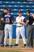 of the Salem Red Sox delivers the lineup card to the umpires prior to taking on the Kinston Indians at Lewis-Gale Field May 1, 2010, in Winston-Salem, North Carolina.  Photo by Brian Westerholt / Four Seam Images