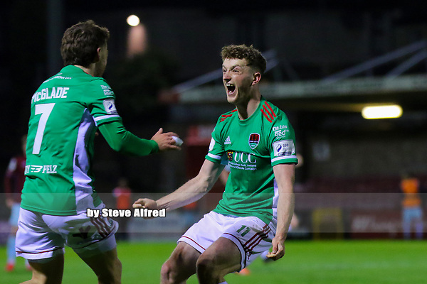 Dylan McGlade and Cian Bargery of Cork City celebrate as their side score their first goal.<br /> <br /> Cork City v Cobh Ramblers, SSE Airtricity League Division 1, 26/3/21, Turner's Cross, Cork.<br /> <br /> Copyright Steve Alfred 2021.