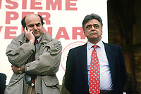 - meeting of Democratic Party of the Left (PDS) in Piacenza (Mars 1994); Pier Luigi Bersani and Achille Occhetto<br /> <br /> - comizio de Partito Democratico della Sinistra (PDS) a Piacenza (marzo 1994); Pier Luigi Bersani e Achille Occhetto