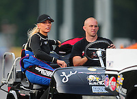 Jun. 18, 2011; Bristol, TN, USA: NHRA pro mod driver Leah Pruett-LeDuc during qualifying for the Thunder Valley Nationals at Bristol Dragway. Mandatory Credit: Mark J. Rebilas-