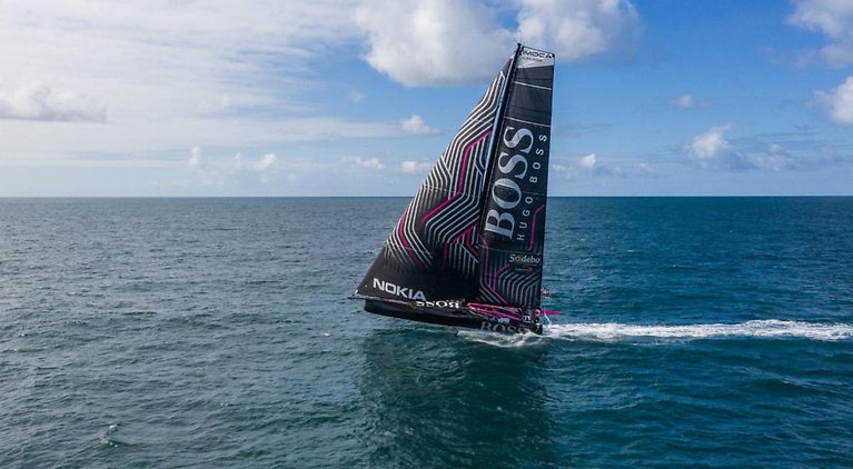 British top offshore sailor, Alex Thomson aboard HUGO BOSS is one of 13 IMOCA 60s in the Fastnet Race © Alex Thomson Racing