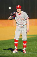 North Carolina State Wolfpack starting pitcher Carlos Rodon (16) warms up in the outfield prior to the game against the Wake Forest Demon Deacons at Wake Forest Baseball Park on March 15, 2013 in Winston-Salem, North Carolina.  The Wolfpack defeated the Demon Deacons 12-6.  (Brian Westerholt/Four Seam Images)