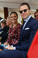 Victoria, Crown Princess of Sweden and  Duchess of Västergötland and her husband Daniel  ride a small touristic train during a visit to the historic district of downtown Lima, Peru, October 20 2015. The Princess is in the second day of her visit to Peru .<br /> <br /> <br /> Foto Geraldo Caso/Archivolatino/Astufoto