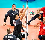 Lima, Peru -  25/August/2019 -   Chris Bird (#10) in action as Canada takes on Costa Rica in men's sitting volleyball at the Parapan Am Games in Lima, Peru. Photo: Dave Holland/Canadian Paralympic Committee.