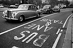 Bus and Taxi Lane, Park Lane London 1970.