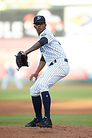 Pulaski Yankees starting pitcher Luis Medina (30) in action against the Princeton Rays at Calfee Park on July 14, 2018 in Pulaski, Virginia. The Rays defeated the Yankees 13-1.  (Brian Westerholt/Four Seam Images)