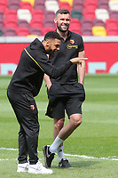 Andre Gray and Ben Foster of Watford pre-match during Brentford vs Watford, Sky Bet EFL Championship Football at the Brentford Community Stadium on 1st May 2021