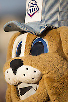 "Round Rock Express mascot ""Spike"" during the Pacific Coast League baseball game against the New Orleans Zephyrs on June 30, 2013 at the Dell Diamond in Round Rock, Texas. Round Rock defeated New Orleans 5-1. (Andrew Woolley/Four Seam Images)"