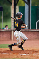 Bristol Pirates catcher Manny Bejerano (24) follows through on a swing during a game against the Elizabethton Twins on July 29, 2018 at Joe O'Brien Field in Elizabethton, Tennessee.  Bristol defeated Elizabethton 7-4.  (Mike Janes/Four Seam Images)