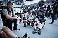 Caleb Ewan (AUS/Orica-GreenEDGE) & Ian Boswell (USA/SKY) catching up ahead of the Grande Partenza in Apeldoorn (NLD): team presentation of the 99th Giro d'Italia 2016 on the evening before the 1st stage