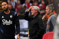 25th September 2021; Vicarge Road, Watford, Herts,  England;  Premier League football, Watford versus Newcastle; Newcastle United Manager Steve Bruce rubs his head