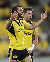 Conrad Smith appeals to the referee during the Super 15 rugby match between the Hurricanes and Highlanders at Westpac Stadium, Wellington, New Zealand on Saturday, 17 March 2012. Photo: Dave Lintott / lintottphoto.co.nz
