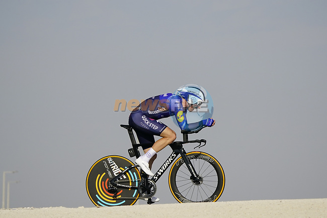 Michael Morkov (DEN) Deceuninck-Quick Step during Stage 2 of the 2021 UAE Tour an individual time trial running 13km around Al Hudayriyat Island, Abu Dhabi, UAE. 22nd February 2021.  <br /> Picture: Eoin Clarke | Cyclefile<br /> <br /> All photos usage must carry mandatory copyright credit (© Cyclefile | Eoin Clarke)