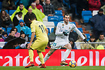 Gareth Bale (R) of Real Madrid is tackled by Jaume Vicent Costa Jorda, J Costa, of Villarreal CF during the La Liga 2017-18 match between Real Madrid and Villarreal CF at Santiago Bernabeu Stadium on January 13 2018 in Madrid, Spain. Photo by Diego Gonzalez / Power Sport Images